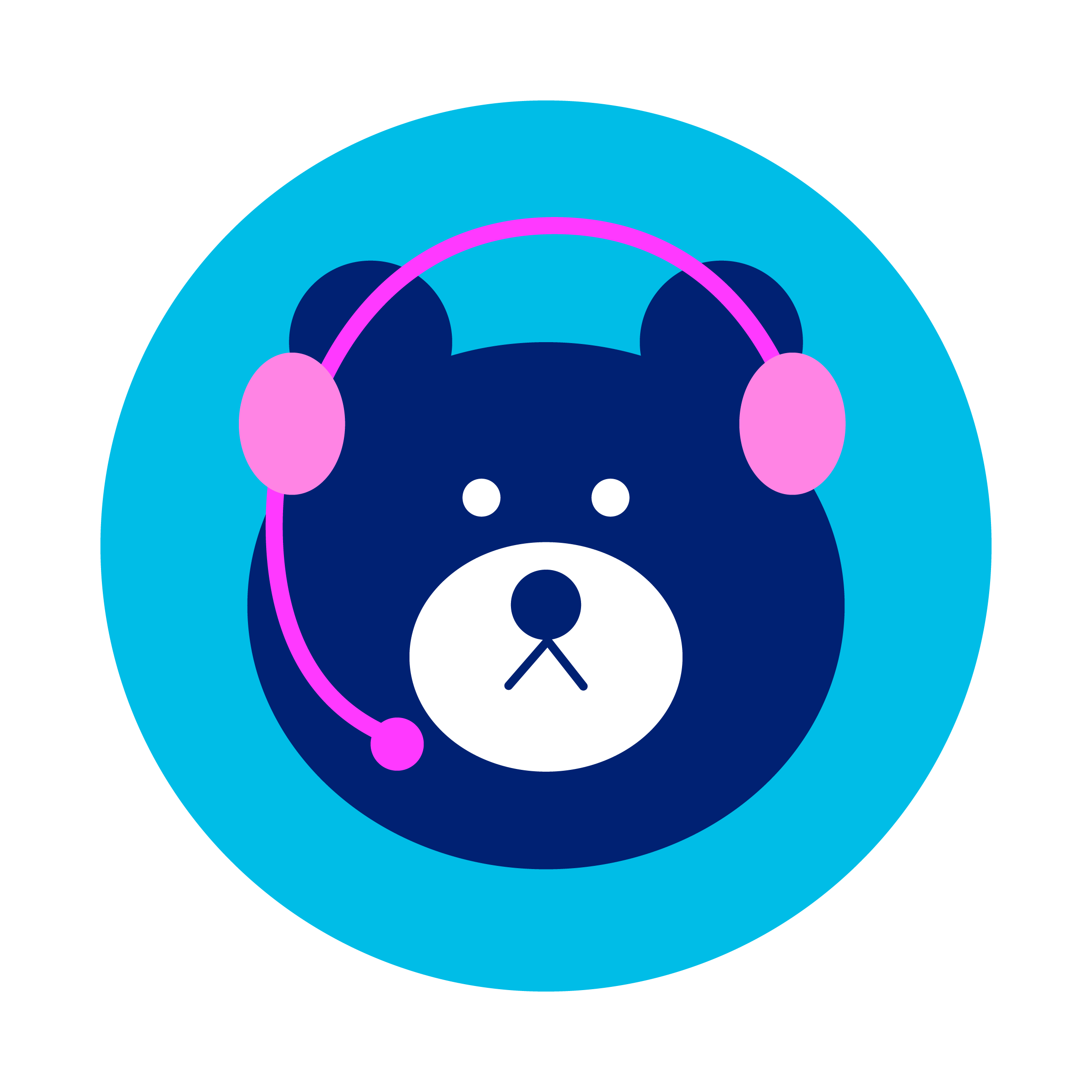 bear with headset, indicating chat is online