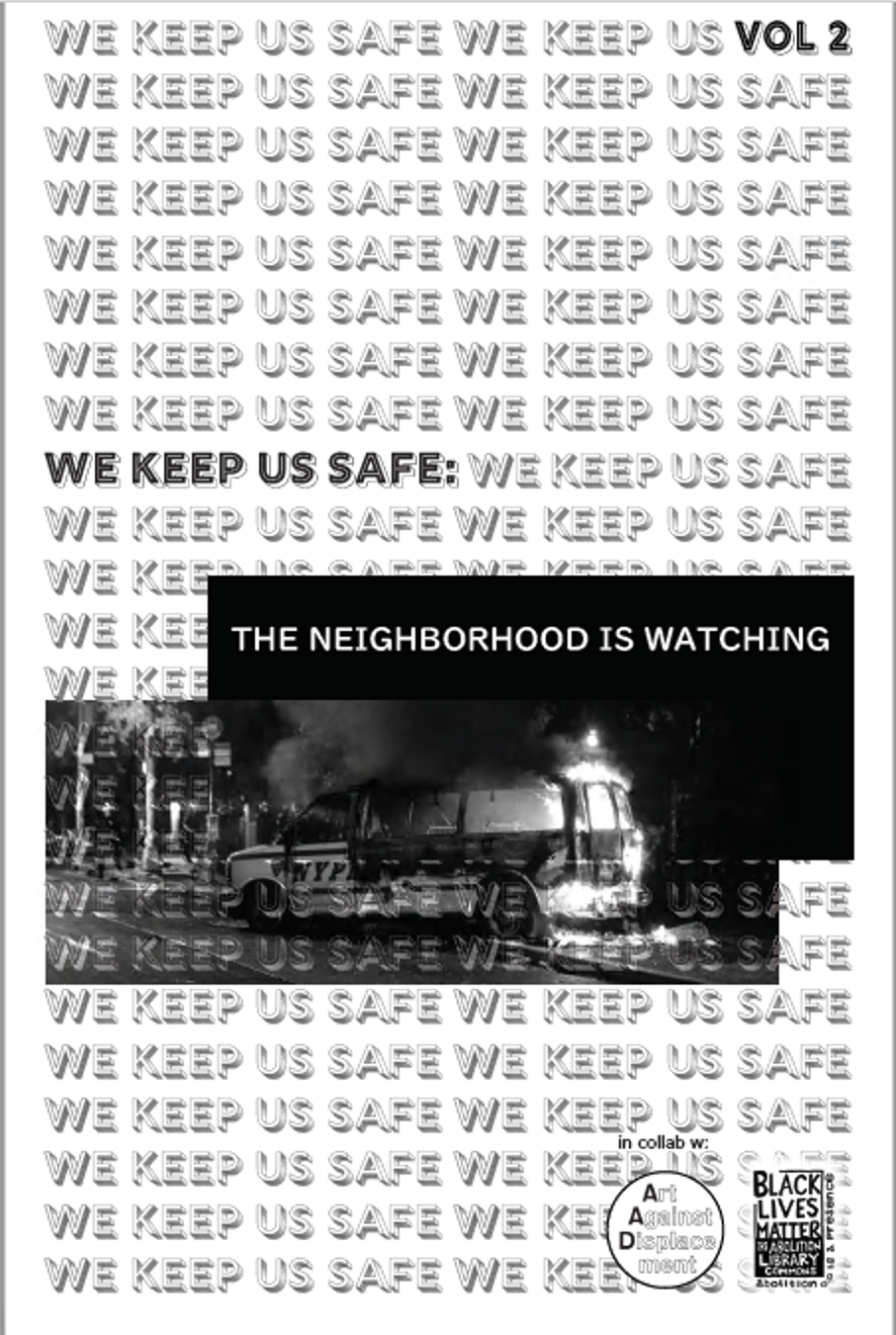 zine cover: repeated title, small photo of trees, train in the night