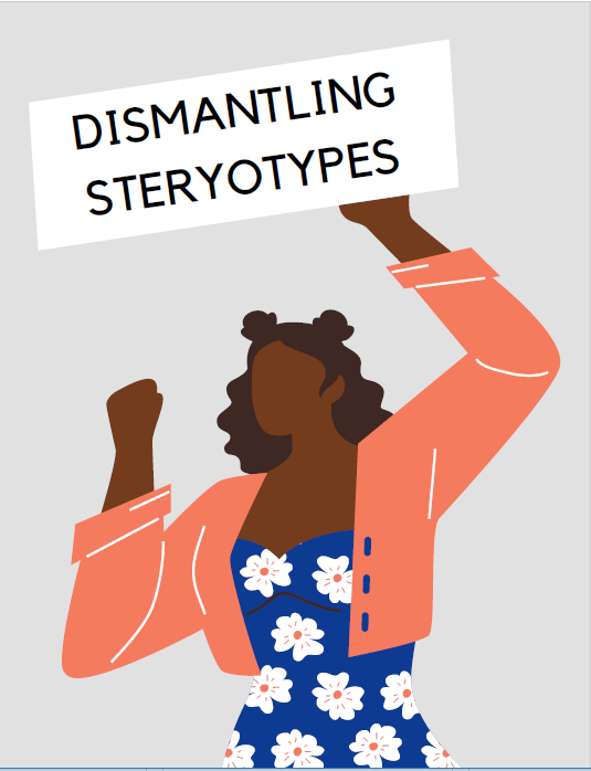 zine cover: person in flowered dress and red jacket making power fist and holding a sign with the zine title