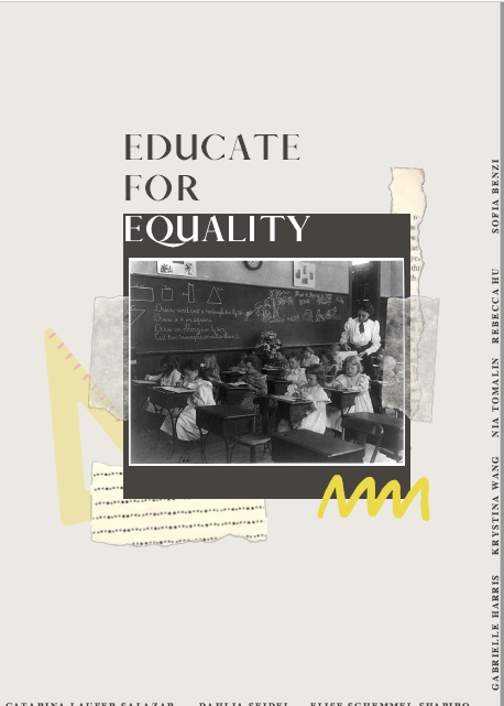 zine cover: photo of girls in 19th century classroom