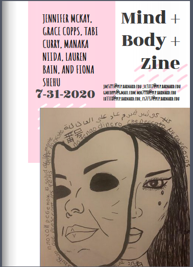 zine cover: title on top, illustration of a person with their face partially obscured by a mask