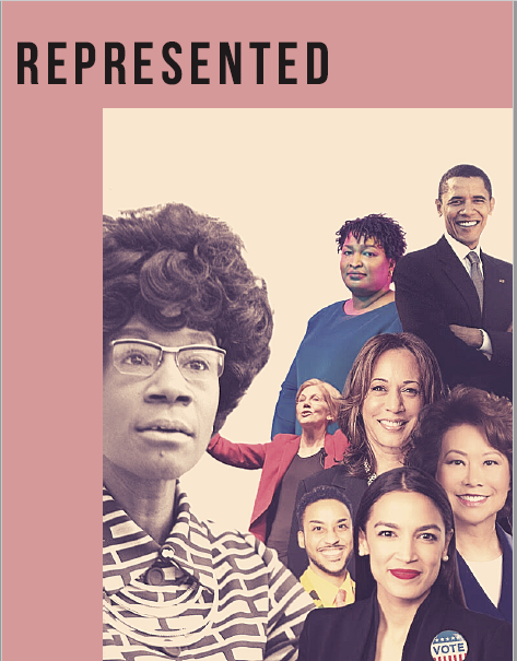 zine cover: photo of politicians including Shirley Chisholm, Stacey Abrams, Barack Obama, and others