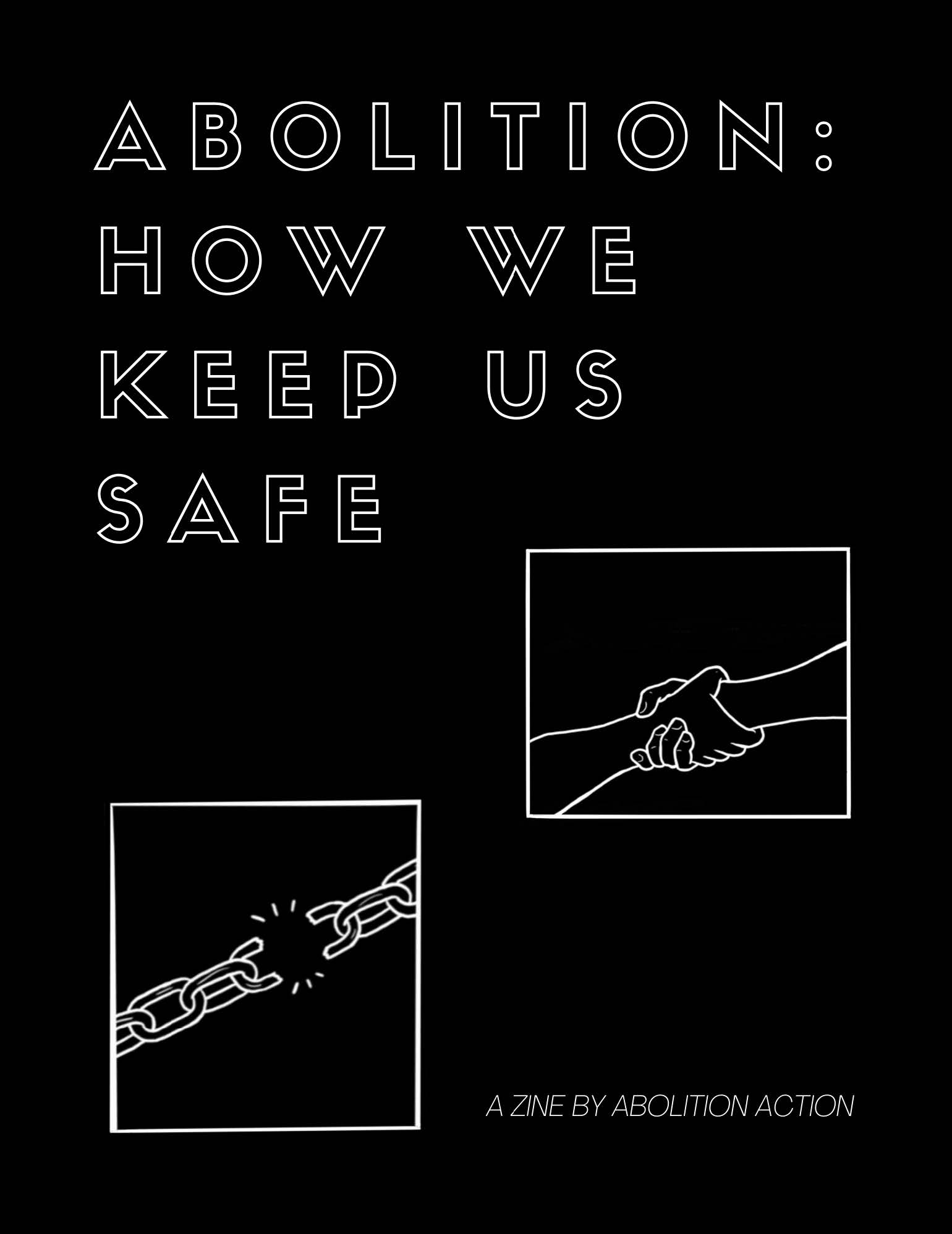 zine cover: white type on black background. graphics of breaking chain and arms holding each other by the wrist