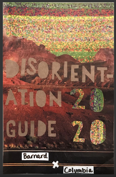 zine cover: Disorientation Guide 2020. title on background that evokes west coast wildfires
