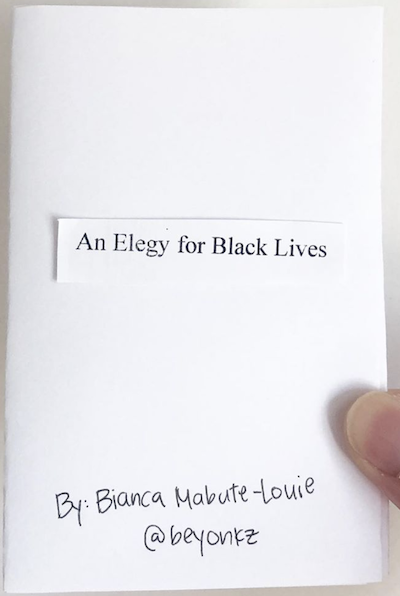 photo of thumb and zine cover: Elegy for Black Lives. Title on paper pasted onto paper.