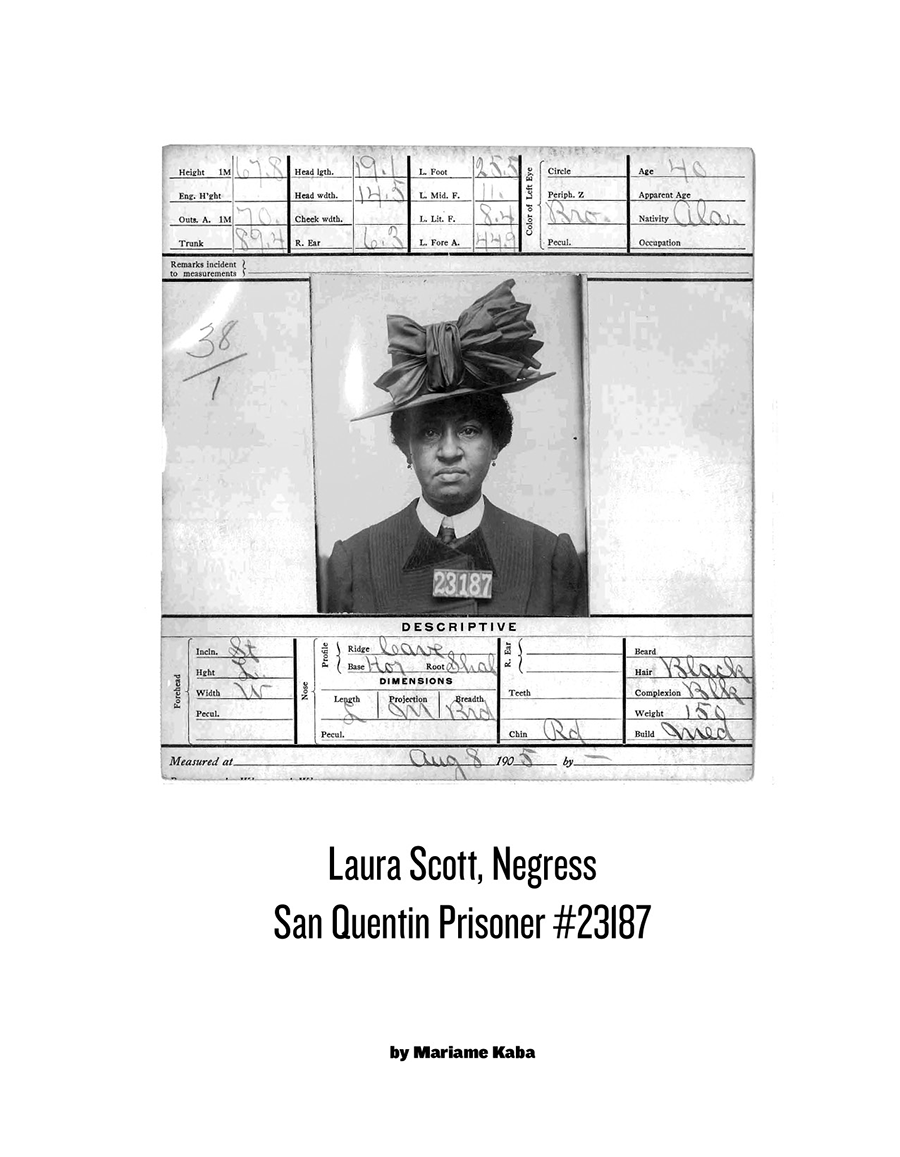 zine cover: prison document and photo of Laura Scott