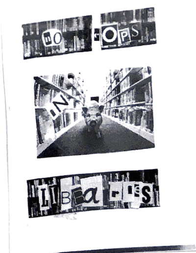 title in ransom letters. photos of library stacks, pig.