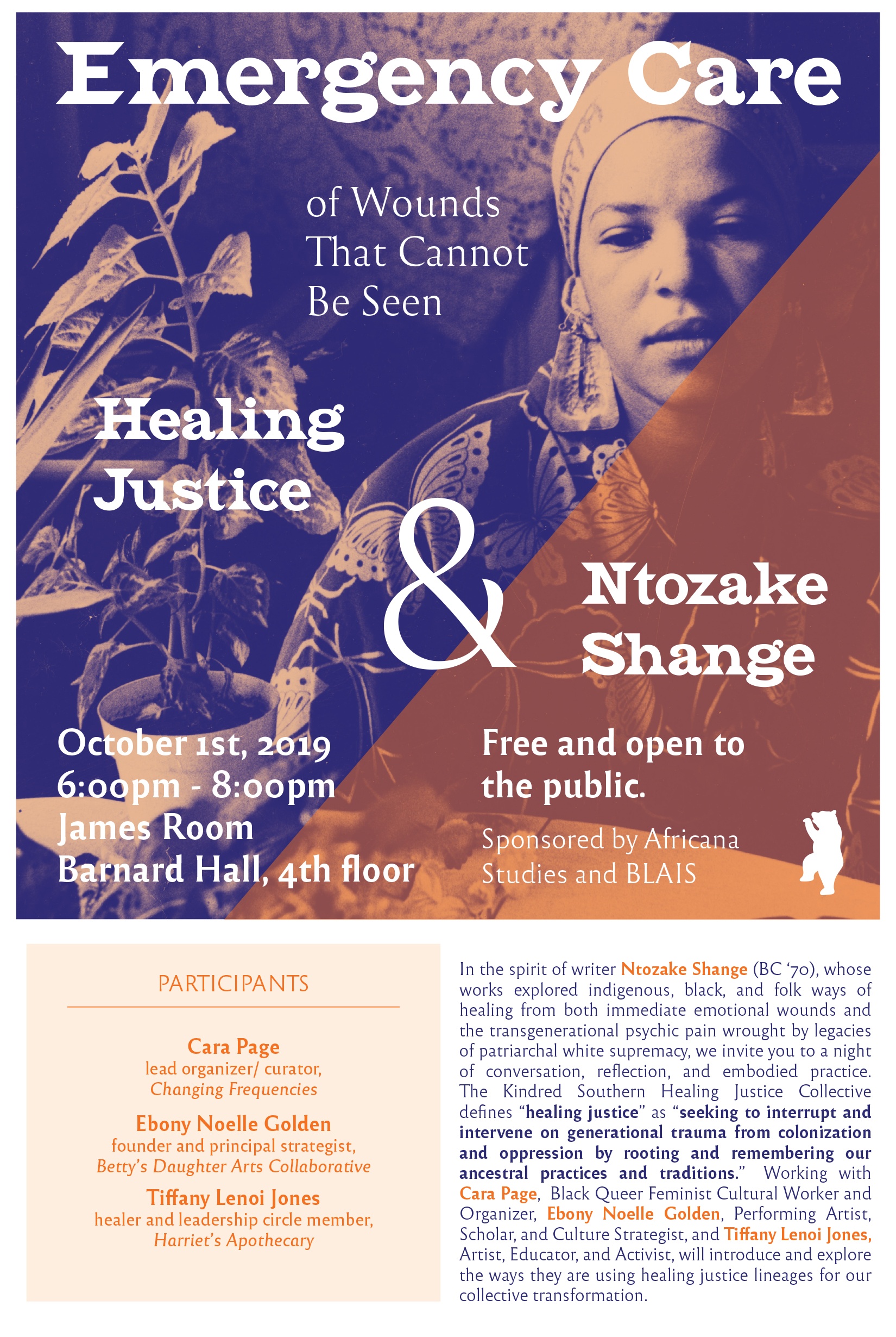 Poster for event featuring a photo of Ntozake Shange surrounded by plants, with a peach/purple color treatment.