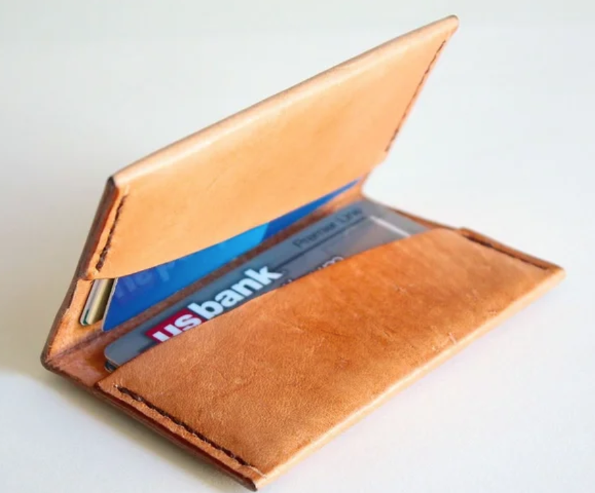 Image of a brown handmade leather wallet