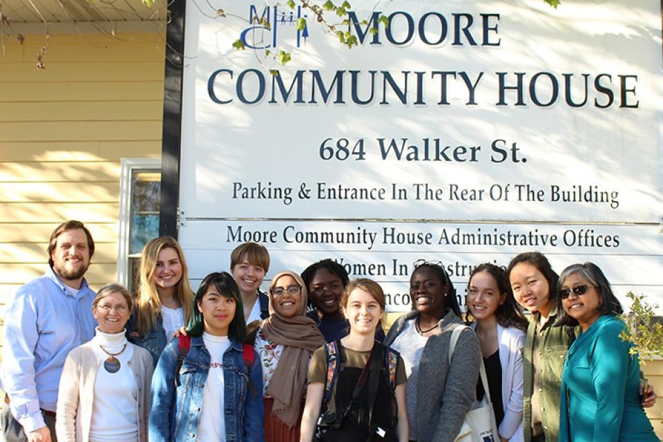 photo of class in front of Moore Community House