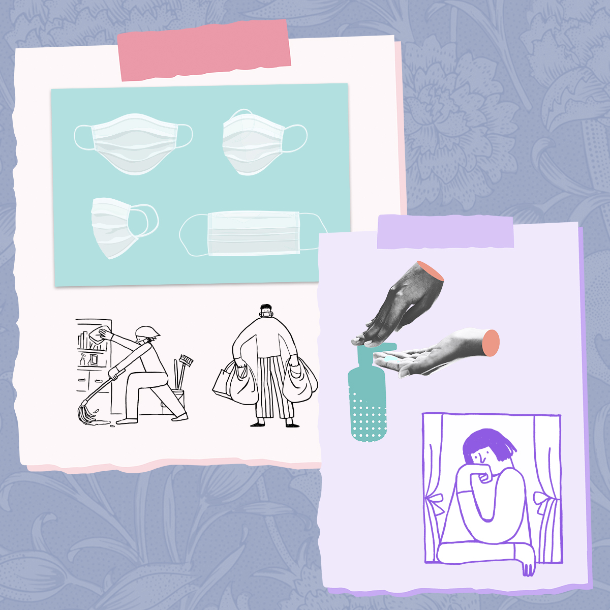 Illustrations of COVID-19 related scenes: face masks, washing hands, cleaning, grocery shopping, sitting alone by a window