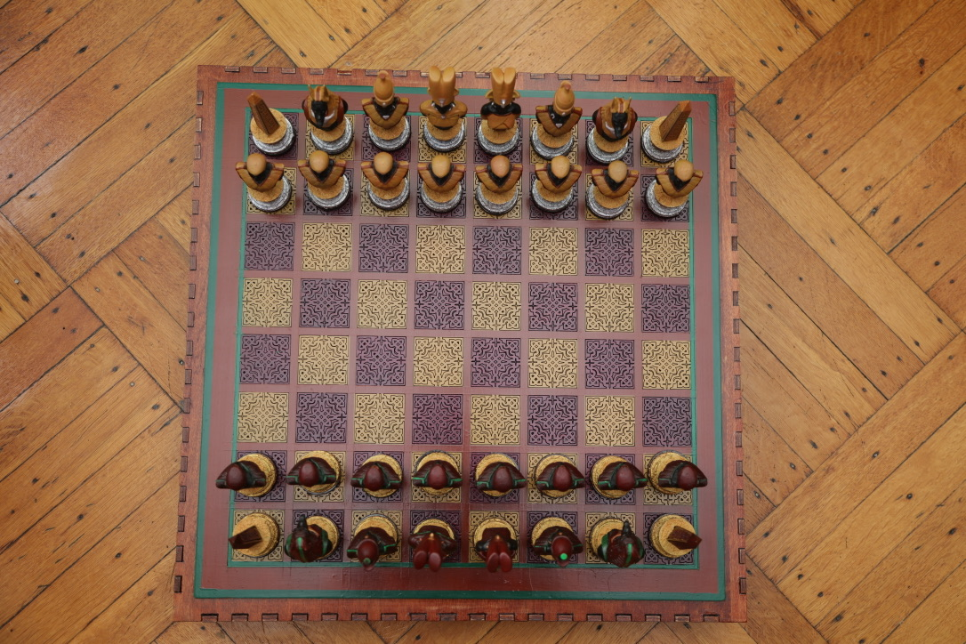A view of the completed chess set from above.