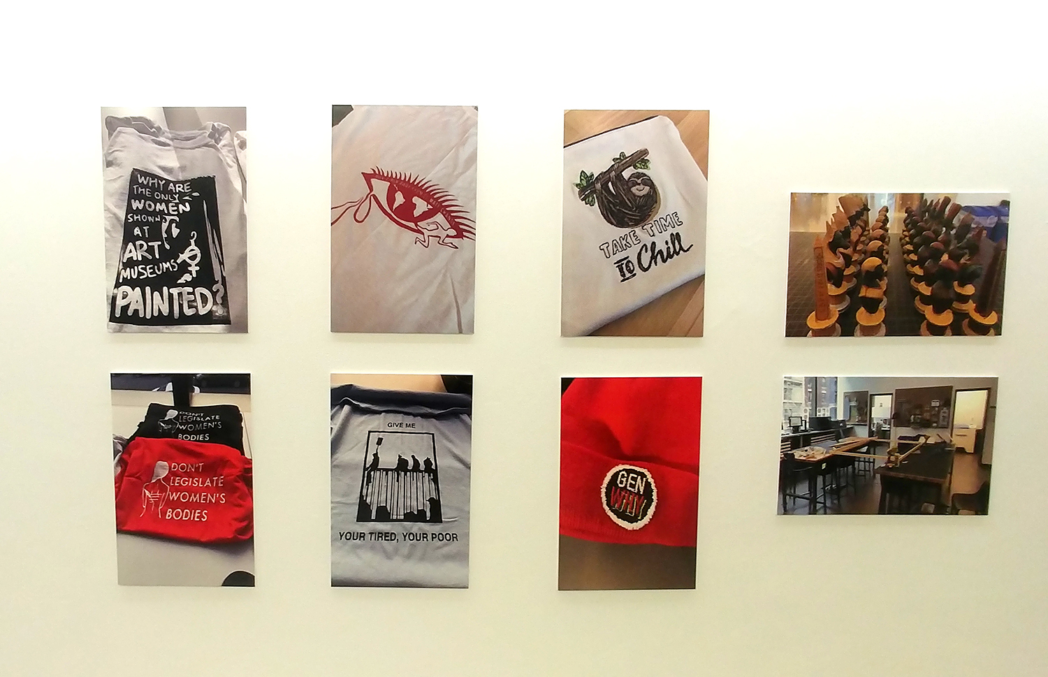 Photos of silk screen and embroidery projects hung up on the wall.