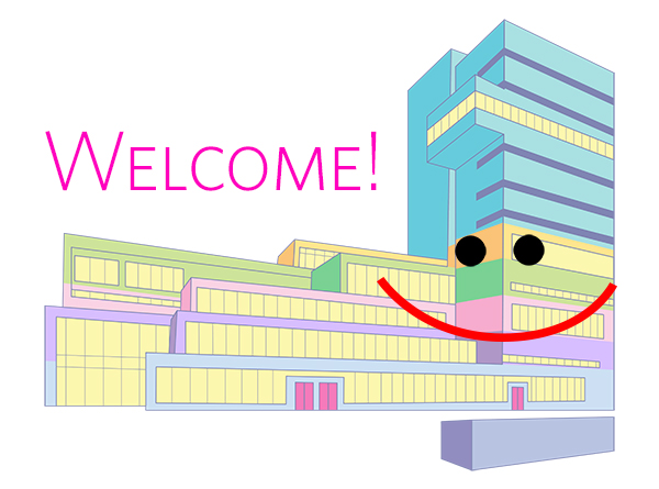 "The Milstein Center, rendered in bright and pastel colors, smiles and says ""Welcome"" to all the new students"