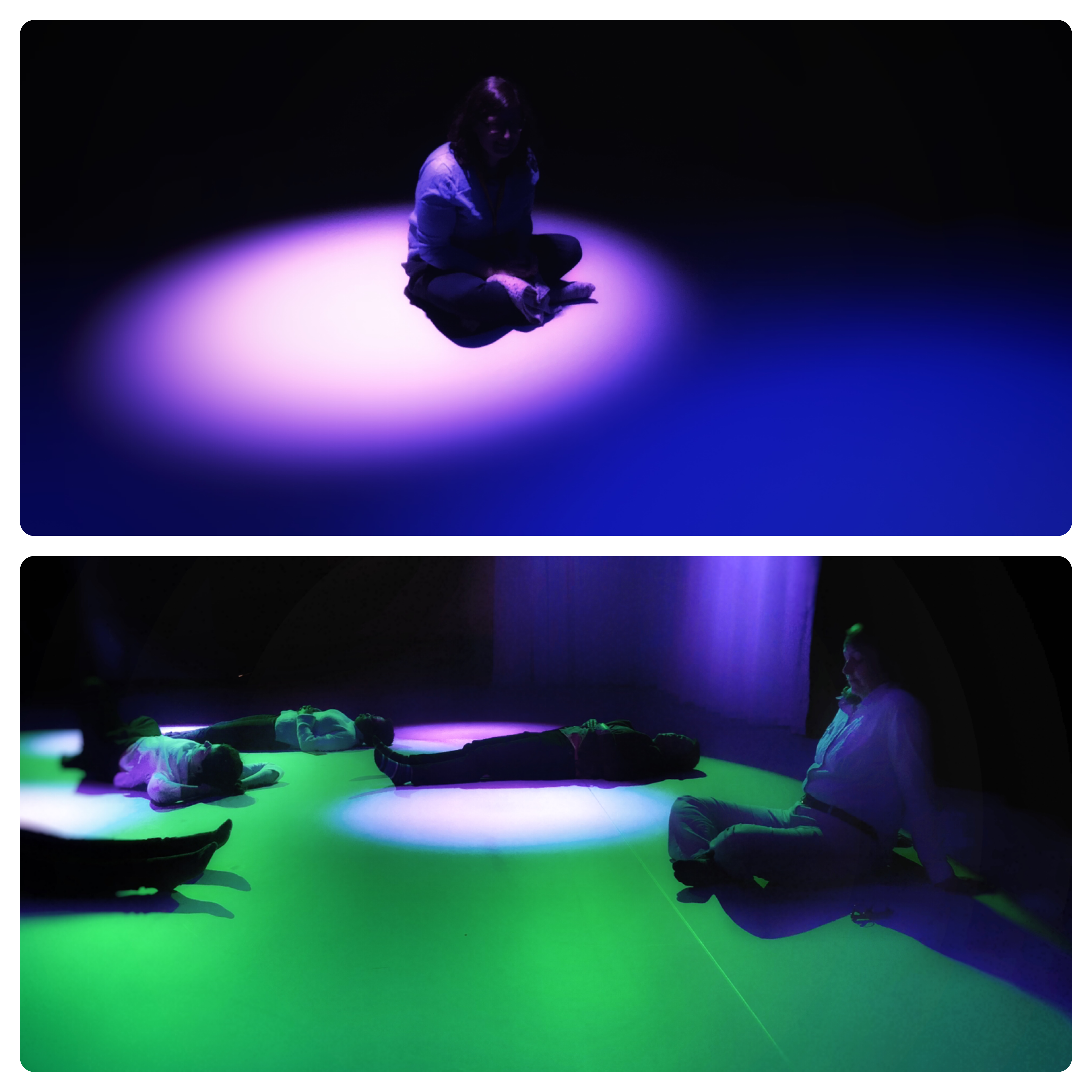 Top: Stillness lab participants lie on the ground immersed in indigo light. Bottom: Participants in green ambient light with purple spotlights.
