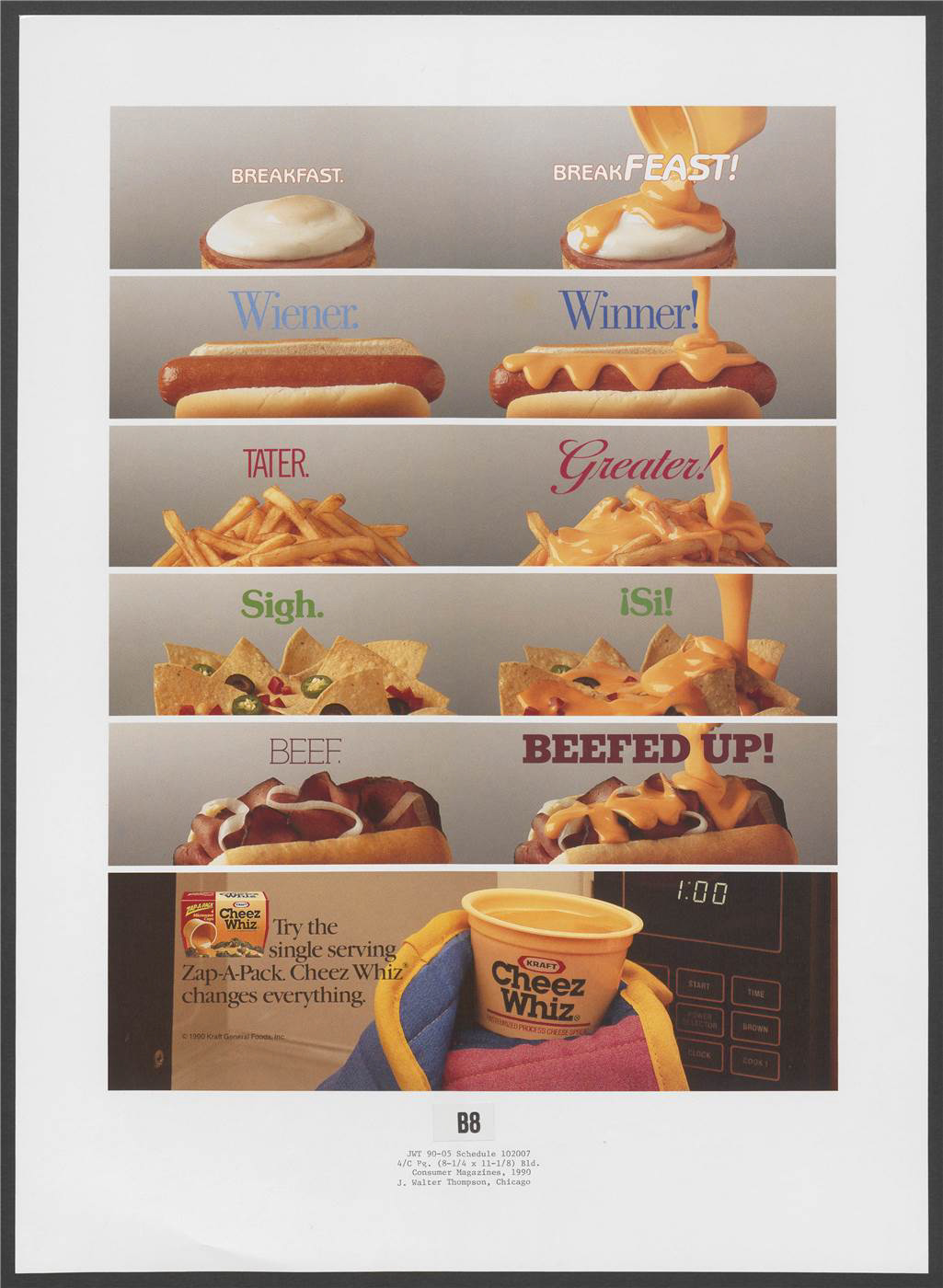 """Breakfast. BreakFEAST!"" Suggests that coating eggs, hot dogs, fries, nachos, and pastrami with heated Cheez Whiz, as illustrated, makes them more attractive propositions. A Cheez Whiz Zap-a-Pack is shown being removed from a microwave oven at the foot of the page, along with an example of its packaging."
