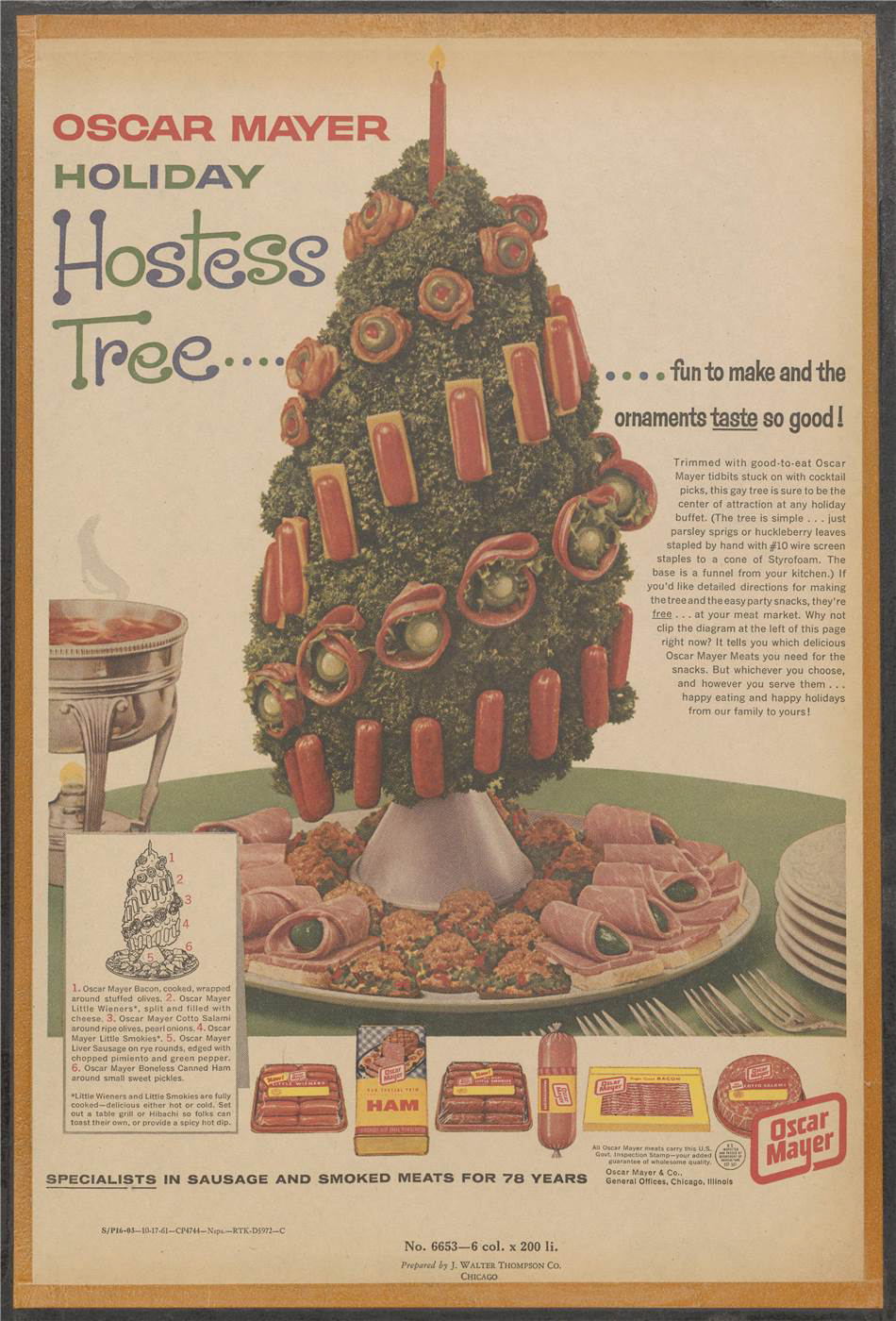 """Oscar Mayer Holiday Hostess Tree."" Artwork of ""tree"" on a table constructed from parsley and decorated with Oscar Mayer products. Labelled diagram identifies the products. Text states that this tree is sure to be the centre of attention, and offers free directions for constructing this festive edifice."