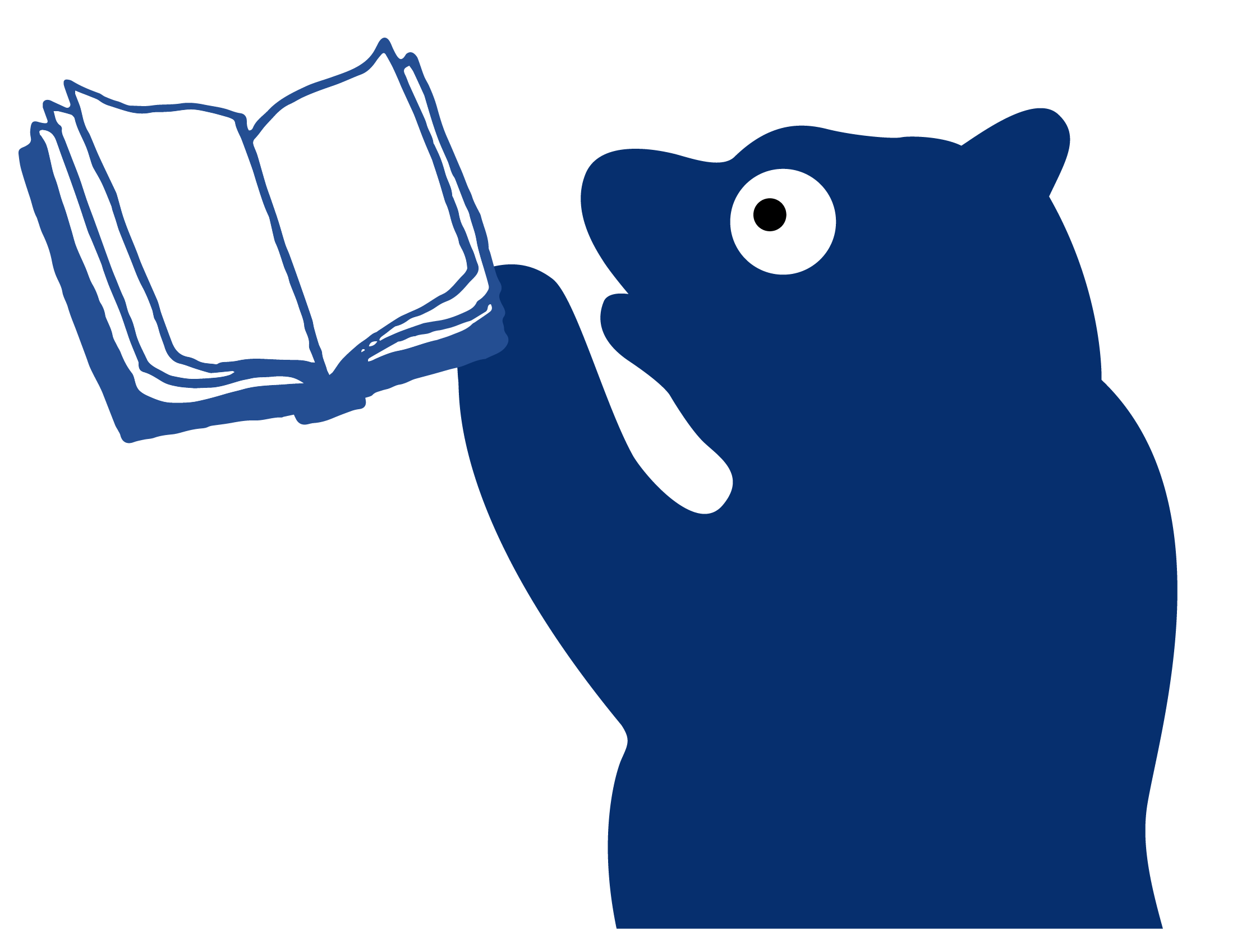 Millie the Bear holding a book