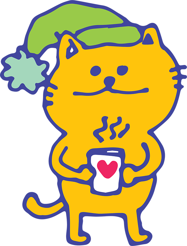 A cartoon orange cat with green cap holds a hot beverage