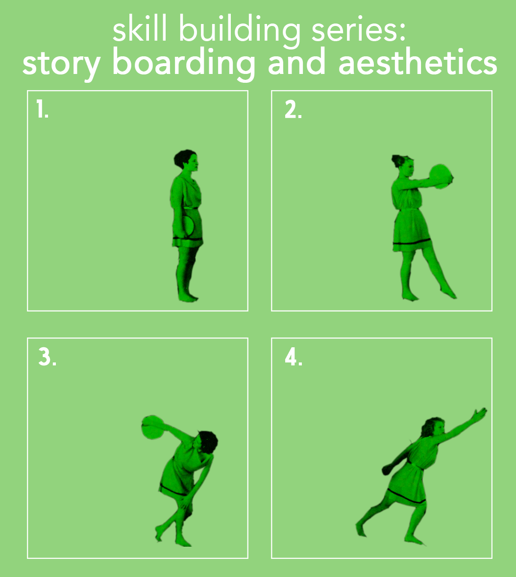 "A green background. White text at top says ""skill building series: storyboarding and aesthetics."" Underneath, there are four numbered boxes, showing the progression of a woman's movement."