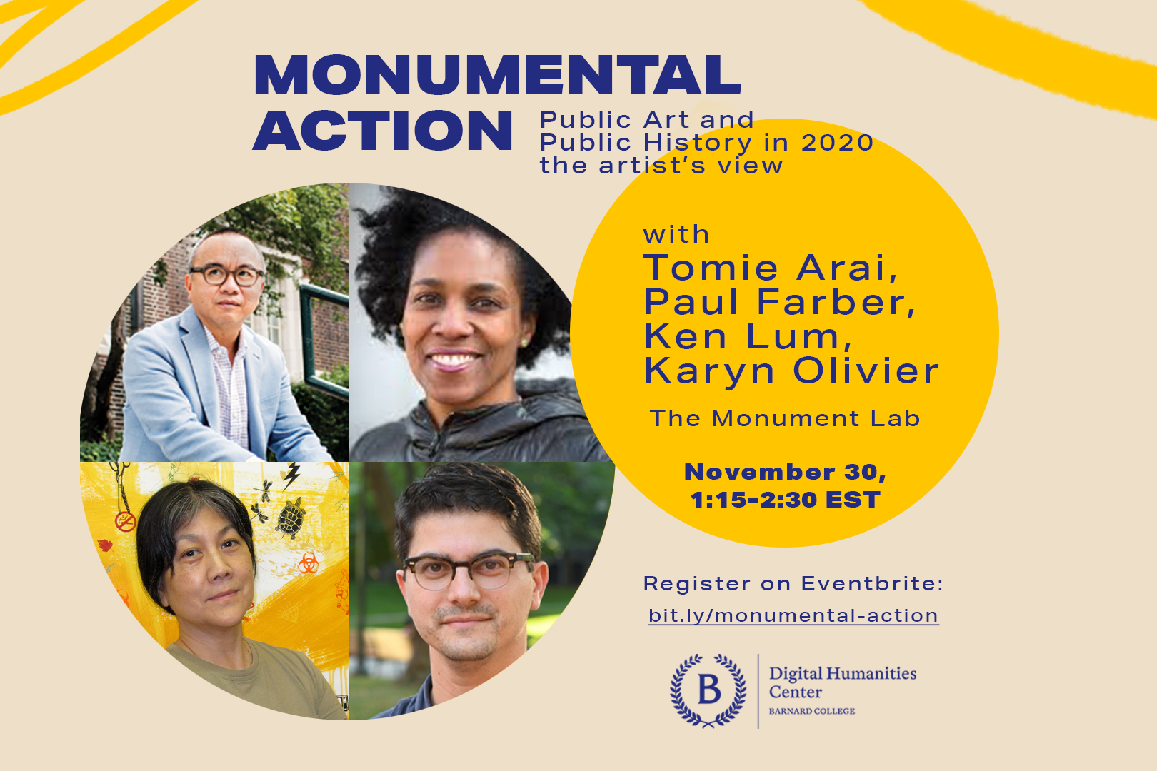 Poster for third Monumental Action event featuring portraits of Monument Lab artists