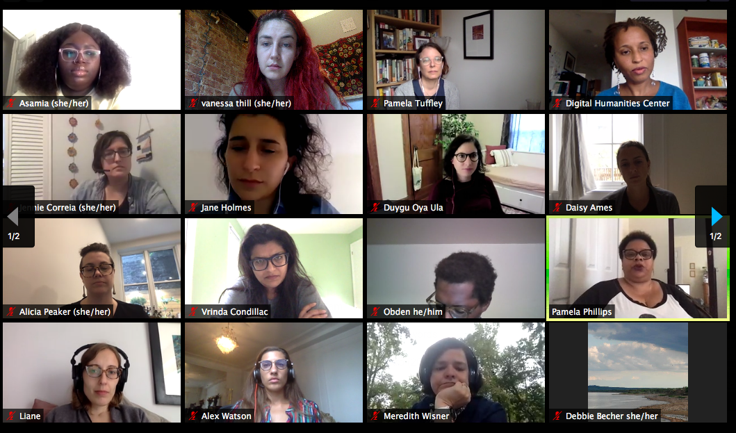 The Undesign reading group on a Zoom video call